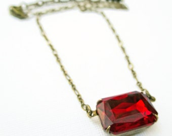 Ruby Crystal Necklace - July Birthstone Gift - Art Deco Jewelery - Jewellery - Victorian Necklace - LANCASTER Ruby