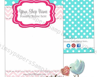 Chevron and Dots Display cards - Choice of size and color combinations - Optional double-sided print