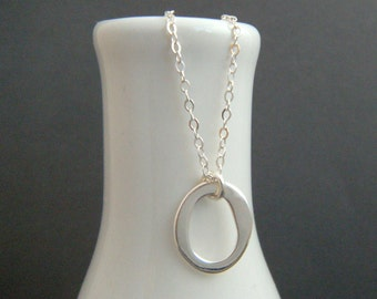 organic circle necklace. sterling silver circle necklace. large ring. simple oval. delicate dainty. everyday. zen jewelry. thick open circle