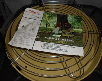 "Nepco portable 18"" picnic grill, never used, gold"