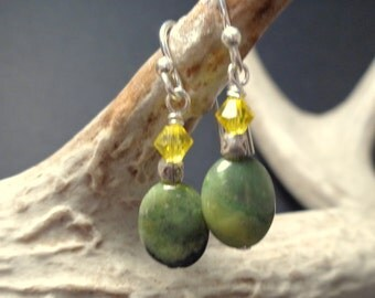Green Serpentine Earrings - Natural Stone Jewelry - Dangle Earrings - Handmade Jewelry