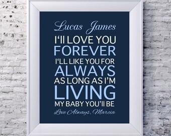Kids Nursery, I'll love you forever, Baptismal Newborn Gift, Gift for godchild, Nursery Gift from aunt, gift for godson, Gift for godchild