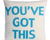 "You've got this - 16""x16"" recycle felt applique pillow - more colors available"