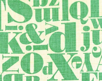 Letterpress Just My Type Mint Michael Miller Fabric by the yard