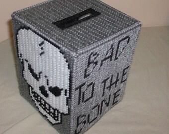 Bad to the Bone Tissue Box Cover-Skull Tissue Box Cover-Needlepoint Skull Tissue Box Cover