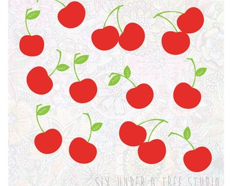 Rain of Cherries Wall Vinyl Decals Art Graphics Stickers