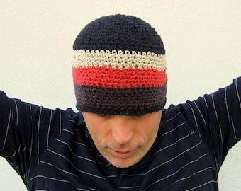 men's cotton beanie/ black coffee rust crochet