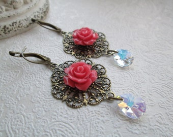 Lace Filigree Earrings Vintage Style Carved Coral Red Rose, Swarovski Crystal Shabby Chic