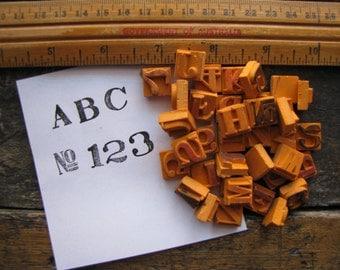 SET of 26 MINI Vintage Alphabet Letters + Numbers Rubber Stamps Upper Case JAPAN