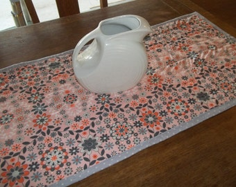 SALE ~ Table Runner Quilt Orange and Gray Mod Floral