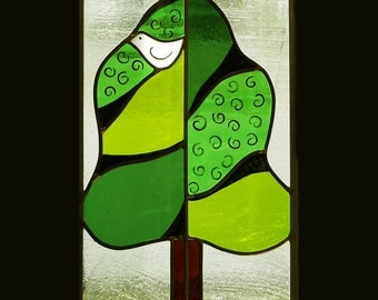 Sittin stained glass panel