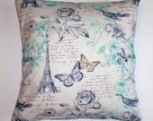 "Throw Pillow Cover, Accent Pillow Cover, Romantic Floral Pillow, Paris Pillow Cover, Teal Blue Pillows, SMC Designs Fabric, 16x16"" Square"