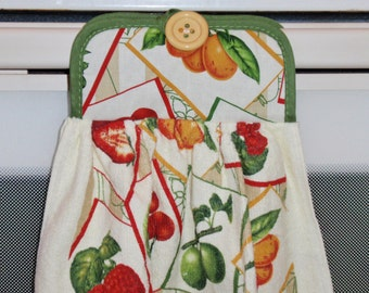 SUMMER SALE - Hanging Kitchen Towel - Pot Holder/Dish Towel Combo Mixed Fruit - Hanging Towel for Easy Accessibility, Handy Kitchen Towel