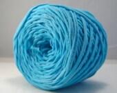 T-Shirt Yarn, Hand Dyed, 60 Yards, Aqua Blue Yarn, TShirt Yarn, T shirt Yarn, Chunky Yarn