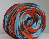 T-Shirt Yarn Hand Dyed Southwest-Red Orange, Aqua, Dark Brown 60 Yards