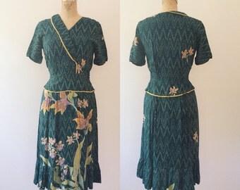 vintage batik dress / vintage peplum dress / Orchid Constellation dress
