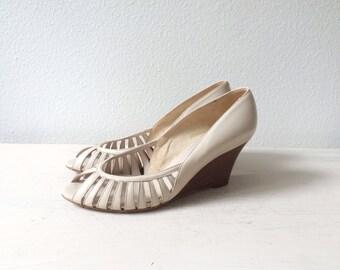 vintage wedges / vintage cage heels / Van Eli leather wedges