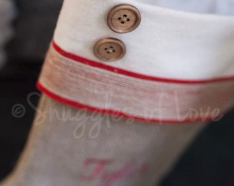 Burlap Christmas Stocking - Personalized Burlap Stocking - Rustic Shabby Chic Stocking - Boys and Mens Stocking with Wood Buttons
