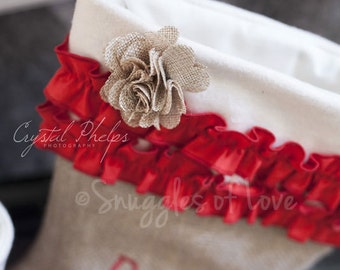 Personalized Burlap Stocking - Shabby Chic Stocking - Red Ruffles with Burlap Flower Detail - Burlap Christmas Stocking