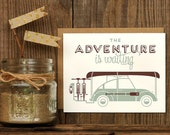 Adventure Is Waiting Letterpress Greeting Card - VW Canoe Bike Bicycle Camping