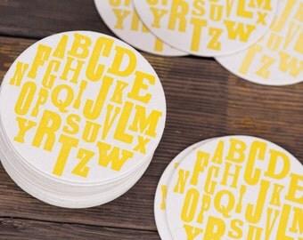 Alphabet Letterpress Coasters  - Party ABC Biodegradable Yellow Eco