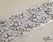 "32"" Bridal Sash, Wedding Sash Belt, Bridal Belt, Crystal Sash, Bridal Accestories"