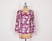 Vintage 90s Maroon Burgundy Floral Top Rose Floral Shirt Blouse Floral Print Top Crush Velvet Top Velvet Shirt 90s Top 90s Grunge Top S M