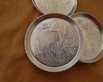 Vintage Silver Coasters Embossed Ducks and Cattails set of eight-Housewares