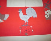 CHICKEN FARM Lois Long Tablecloth /Vintage Textile / Midcentury /  Signed / Tablecloth / Modern / Farmhouse / Price Reduced