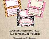 INSTANT DOWNLOAD, Valentine Treat Bag Toppers, Wild About You Design, Animal Crackers, Digital DIY, you print