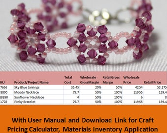 Jewelry & Craft Pricing Calculator Materials Inventory and Product Management Excel and Google Spreadsheet Applications