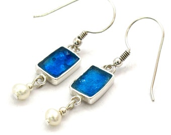 Small Roman Glass Earrings, Delicate Rectangle 925 Silver Earrings, Blue Dangle Earrings, Silver Earrings & Freshwater Pearl, Israel Jewelry