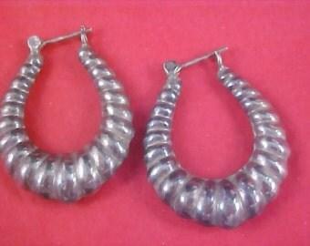 Silver Tone Lever Back HOOP Earrings