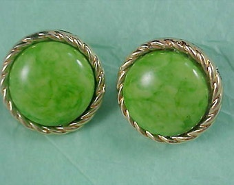 Fantastic Swirled GREEN Cabochons - Gold Plate BUTTON Rope Post Earrings