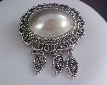Antique Massive Dome ABALONE Pearl Stone Set in Simulated Marcasite Brooch