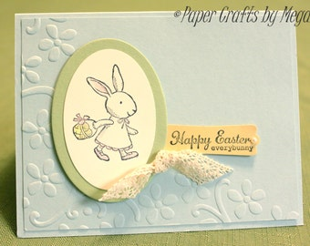 Easter Bunny Card, Happy Easter Everybunny, Handmade Easter Card with Bunny and basket