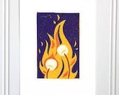Campfire Card, linoleum block print