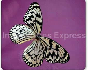 White Butterfly Mouse Pad