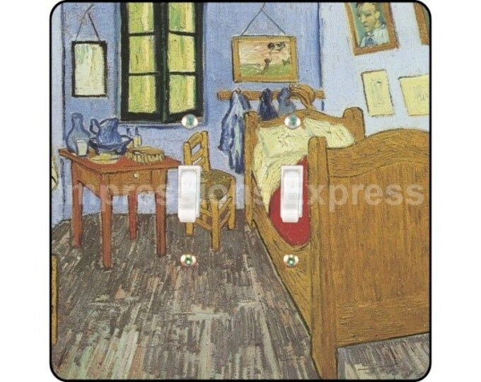 Vincent Van Gogh The Bedroom Painting Square Double Toggle Light Switch Plate Cover