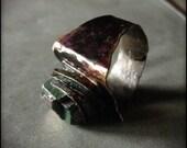 Rainbow titanium pyrite The Ring of Power hammered artsan brass unisex