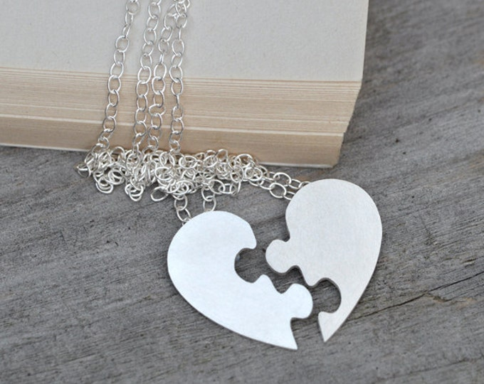 Puzzle Heart Necklace, Interlocking Jigsaw Puzzle Heart, Lover's Necklace, With Personalized Message In Sterling Silver Handmade In England