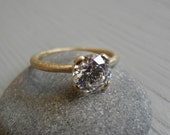 Engagement 18K yellow Gold  Ring, Vintage Inspired Classic Large Clear Swarovski Cubic Zirconia Ring, Gold Ring, Statement Ring.