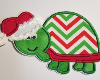 Christmas Turtle Iron On Applique