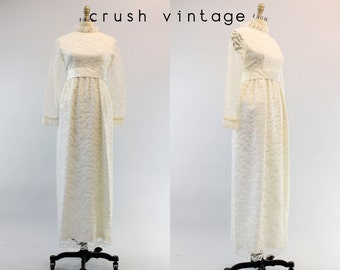 60s Lorrie Deb Wedding Dress Small / 1960s Lace Bridal Gown /  The Promise Gown