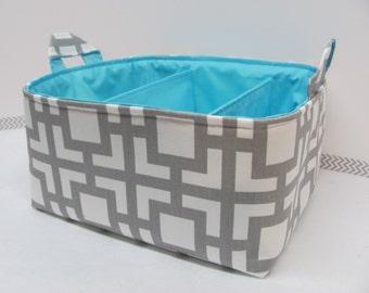 NEW Fabric Diaper Caddy - Fabric organizer storage bin basket - Squares grey