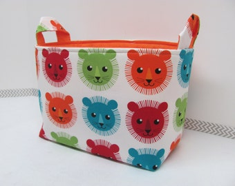 LARGE Fabric Organizer Basket Storage Container Bin Bucket Bag Diaper Holder Home Decor- Size Large - Lions