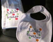 Embroidered Burp Cloth and Bib Set- Little SISTER or Little BROTHER