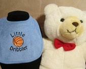 Embroidered Baby Bib- Little Dribbler- Basketball-BLUE