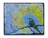 Bird Painting 8x10 Acrylic on Canvas Contemporary Dreamy Songbird Blue Nursery Decor Modern Fine Art Ready to Ship