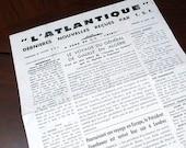 "L'Atlantique August 28, 1959 Aboard the S. S. ""Liberte""   Daily newspaper"